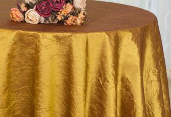 "132"" Round  Crushed Taffeta Tablecloth - Gold 63027(1pc/pk)"