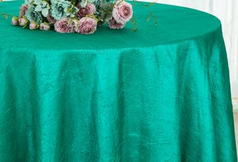 "132"" Round  Crushed Taffeta Tablecloth - Jade 63026 (1pc/pk)"