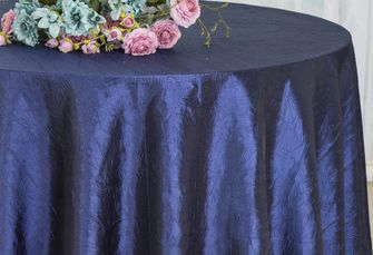 "132"" Round Crushed Taffeta Tablecloth - Navy Blue 63023(1pc/pk)"