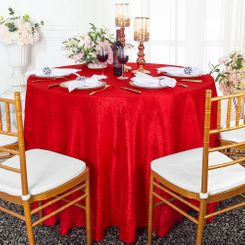 """132"""" Round  Crushed Taffeta Tablecloth - Red 63012(1pc/pk)"""