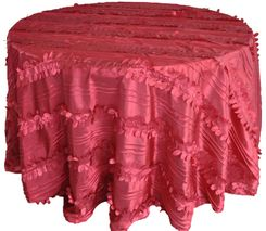 "132"" Round Forest Taffeta Tablecloths - Apple Red 67008 (1pc/pk)"