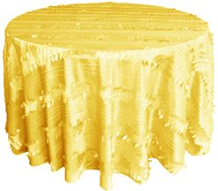 "132"" Round Forest Taffeta Tablecloths - Canary Yellow 67016(1pc/pk)"