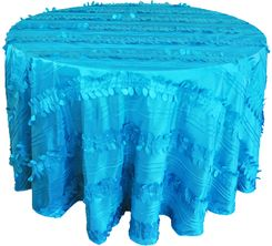 "132"" Round Forest Taffeta Tablecloths - Turquoise 67085(1pc/pk)"