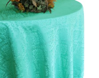 "132"" Round Marquis Damask Jacquard Polyester Tablecloths (12 colors)"