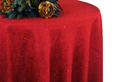 "132"" Round Paillette Poly Flax / Burlap Tablecloth - Apple Red 10908 (1pc/pk)"