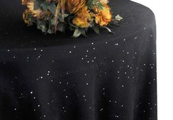 "132"" Round Paillette Poly Flax / Burlap Tablecloth - Black 10939 (1pc/pk)"