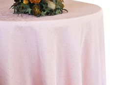 "132"" Round Paillette Poly Flax / Burlap Tablecloth - Blush Pink 10915 (1pc/pk)"