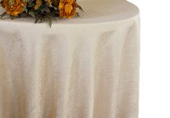 "132"" Round Paillette Poly Flax / Burlap Tablecloth - Champagne 10928 (1pc/pk)"