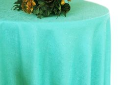 "132"" Round Paillette Poly Flax / Burlap Tablecloth - Tiff Blue / Aqua Blue 10918 (1pc/pk)"