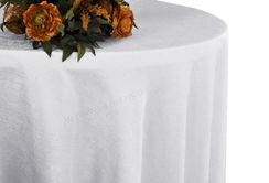 "132"" Round Paillette Poly Flax / Burlap Tablecloth - White 10901 (1pc/pk)"