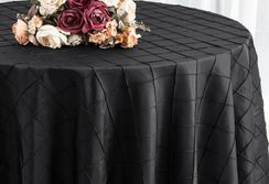 "132"" Round Pintuck Taffeta Tablecloth - Black 60039 (1pc/pk)"