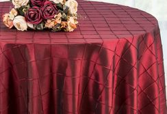 "132"" Round Pintuck Taffeta Tablecloth - Burgundy 60010(1pc/pk)"