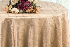 "132"" Round Pintuck Taffeta Tablecloth - Champagne 60028(1pc/pk)"