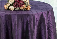 "132"" Round Pintuck Taffeta Tablecloth - Eggplant 60045(1pc/pk)"