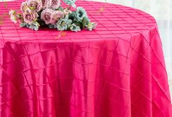 "132"" Round Pintuck Taffeta Tablecloth - Fuchsia 60009(1pc/pk)"