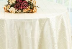 "132"" Round Pintuck Taffeta Tablecloth - Ivory 60002(1pc/pk)"
