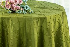 "132"" Round Pintuck Taffeta Tablecloth - Moss Green 60017(1pc/pk)"