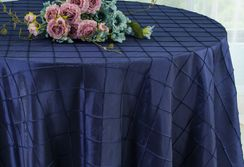 "132"" Round Pintuck Taffeta Tablecloth - Navy Blue 60023(1pc/pk)"