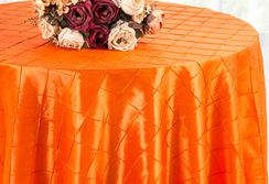 "132"" Round Pintuck Taffeta Tablecloth - Orange 60033(1pc/pk)"