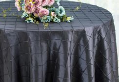 "132"" Round Pintuck Taffeta Tablecloth - Pewter 60060(1pc/pk)"