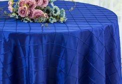 "132"" Round Pintuck Taffeta Tablecloth - Royal Blue 60022(1pc/pk)"