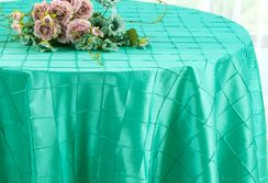 "132"" Round Pintuck Taffeta Tablecloth - Tiff Blue / Aqua Blue 60018(1pc/pk)"