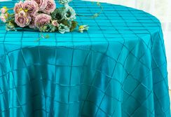 "132"" Round Pintuck Taffeta Tablecloth - Turquoise 60085(1pc/pk)"