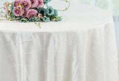 "132"" Round Pintuck Taffeta Tablecloth - White 60001(1pc/pk)"