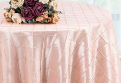 "132"" Round Pintuck Taffeta Tablecloth -  Blush Pink 60015 (1pc/pk)"