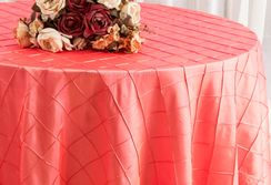"132"" Round Pintuck Taffeta Tablecloth - Coral 60006(1pc/pk)"