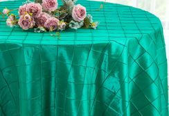"132"" Round Pintuck Taffeta Tablecloth - Jade 60026(1pc/pk)"