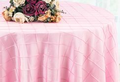 "132"" Round Pintuck Taffeta Tablecloth - Pink 60005 (1pc/pk)"