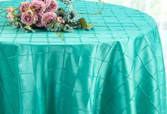 "132"" Round Pintuck Taffeta Tablecloth - Pool Blue 60078(1pc/pk)"