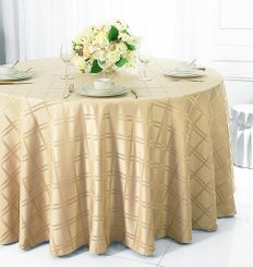 "132"" Round Plaid Jacquard Polyester Tablecloths (6 colors)"