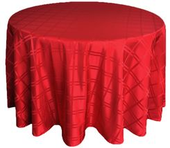 "132"" Round Plaid Polyester Jacquard Tablecloths - Apple Red  87708(1pc/pk)"