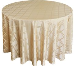 "132"" Round Plaid Polyester Jacquard Tablecloths - Champagne 87728(1pc/pk)"