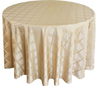"""132"""" Round Plaid Polyester Jacquard Tablecloths - Champagne 87728(1pc/pk)"""