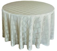 "132"" Round Plaid Polyester Jacquard Tablecloths - Silver 87740(1pc/pk)"