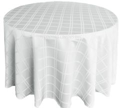 "132"" Round Plaid Polyester Jacquard Tablecloths - White 87701(1pc/pk)"