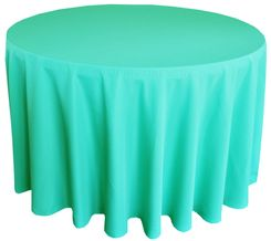 "132"" Round Polyester Tablecloth - Tiff Blue / Aqua Blue 51718(1pc/pk)"