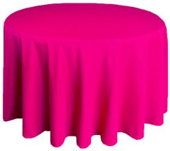 "132"" Round Polyester Tablecloth - Fuchsia 51709(1pc/pk)"