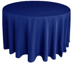 "132"" Round Polyester Tablecloth - Navy Blue 51723(1pc/pk)"