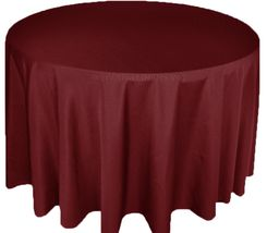"132"" Round Polyester Tablecloths - Burgundy 51710(1pc/pk)"