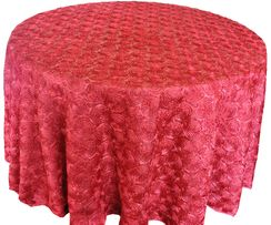 """132"""" Round  Satin Rosette Tablecloth - Apple Red(1pc/pk)"""