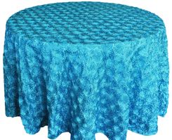 "132"" Round Satin Rosette Tablecloths (12 colors)"