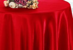 """132"""" Round Satin Tablecloth - Red  55912 (1pc/pk)"""