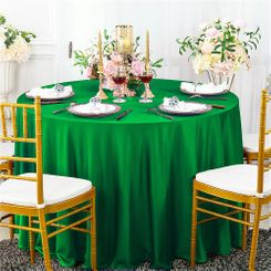 """132"""" Round Scuba (Wrinkle-Free) Tablecloth - Emerald Green 20738 (1pc/pk)"""