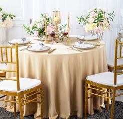 """132"""" Round Scuba (Wrinkle-Free) Tablecloth - Champagne 20728 (1pc/pk)"""