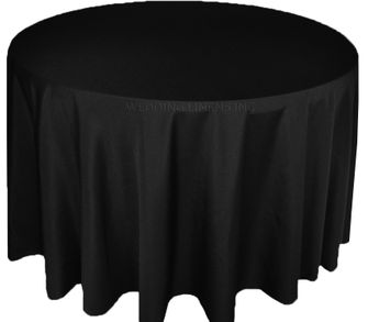 """132"""" Round Polyester Tablecloth - Black 51739(1pc/pk)"""