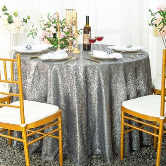 "132"" Round Sequin Tablecloths (21 Colors)"
